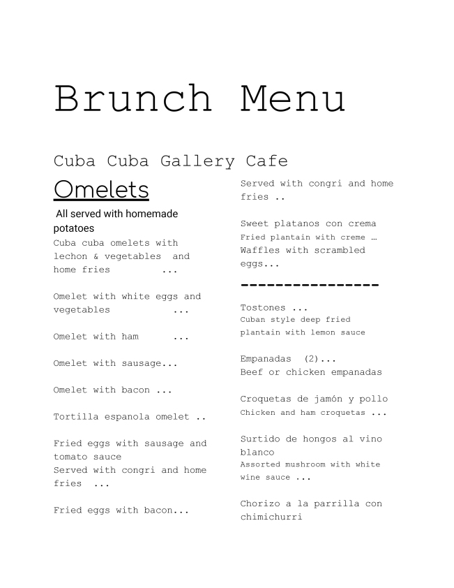 Brunch Menu for cuba cuba -1
